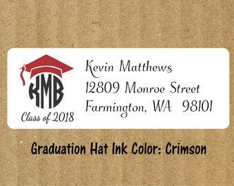 Graduation Round Monogram Address Labels, 90 Labels, Graduation Return Address Labels, Round Monogram, Graduation Round Monogram, Graduation