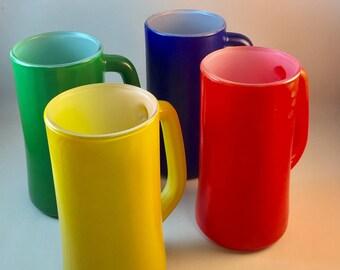 Color Fired Glass Encased Vintage Mugs Set of 4