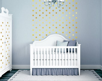 Gold Polka Dots Baby Nursery Wall Decor, Gold Dot Wall Decals, Vinyl Wall Dots, Peel and Stick Circles Nursery Dot Wall Pattern (0179c89v)