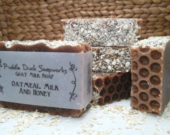 Oatmeal, Milk and Honey Goat Milk Soap with Beeswax, Rice Bran Oil, and Shea Butter for Healthy, Glowing Skin