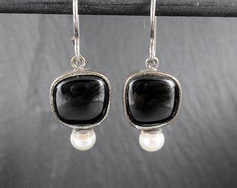 Sterling Silver Faux Onyx & Faux Pearl Earrings | Vintage Women's Earrings