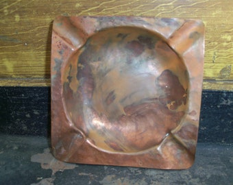 Vintage Handmade Copper Ashtray Made by the Blind Rustic Trinket Dish