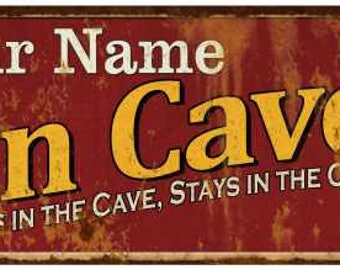 Your Name Man Cave Red Vintage Looking Metal Sign Kitchen Bar Wall Décor Garage Game Room Custom Personalized