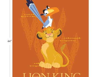 Disney Fabric The Lion King Panel in Orange From Camelot 100% Premium Cotton