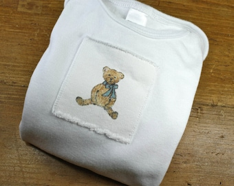 Teddy Bear Onesie Baby, Onesie Cotton Infant Baby Short Sleeve, Sizes: 3-6 Month OR 6-12 Month