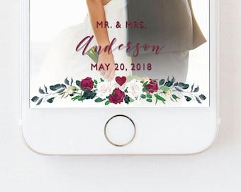 Wedding Snapchat Filter Floral, Wedding Snapchat Geofilter Floral, Red Floral Filter, Wedding Geofilter, Wedding Filter, Snapchat Filter,RED