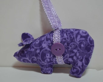 purple and lavender pig, homemade pig ornaments, novelty ornaments, housewarming gift