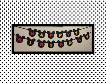Mickey Mouse Birthday Happy Birthday Banner, Mickey 1st birthday, Mickey Clubhouse banner, Mickey Mouse sign, Mickey birthday decorations