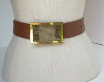 Vintage fashion belt / MESH brass buckle by Calderon / chunky designer belt xs xxs