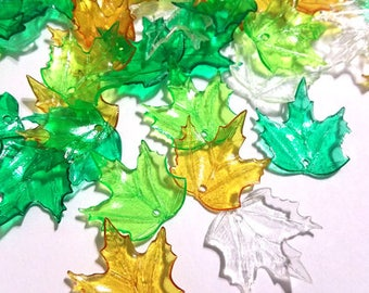 20 Pieces 20mm x 18mm Icy Rainbow Mix Maple Leaves Lucite Leaf Beads Plastic Beads Plastic Leaf Beads Maple Leaf Beads