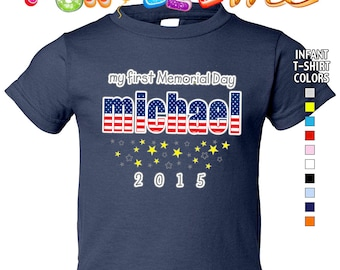My First Memorial Day - T-Shirt - Boys - infant - Personalized with Name & Year