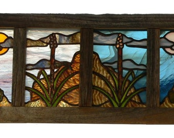Texas Landscape, 4 panel copper foiled stained glass panel