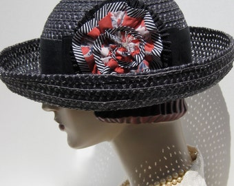 ON SALE/ Black Straw Breton Hat with Ruffled Flower