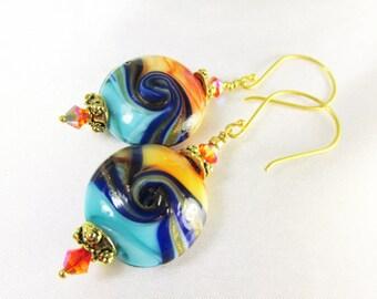 Orange, Ocean  Blue and Turquoise Lampwork Glass Earrings