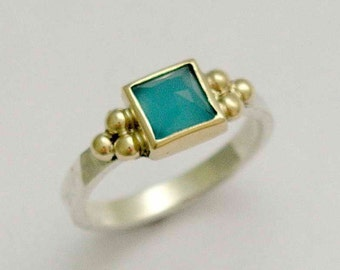 Sterling Silver gold Ring, Blue quartz ring, engagement ring, two-tone ring, hammered ring, gemstone ring, stacker ring - Here for you R1322