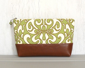 Zipper Pouch, Large Cosmetic Bag, Zippered Makeup Bag - Primavera in Apple Green, Cream and Brown