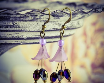 Lilac Crystal and Lucite Flower Bronze Hook Earrings [E29]