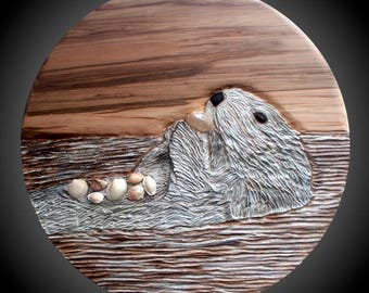 Sea Otter Mealtime-decisions, decisions Wall Sculpture