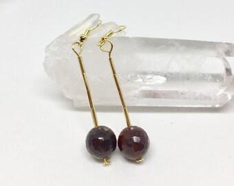 Faceted poppy jasper earrings, poppy jasper jewelry, red jasper earrings, faceted red jasper jewelry, red stone earrings, brecciated jasper