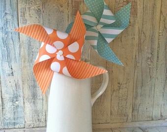 Aqua and Orange Pinwheels - Set of 8 Pinwheels