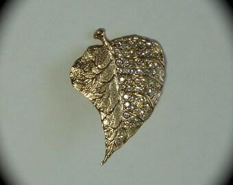 Leaf Brooch with Rhinestones. Free Shipping