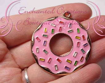 "2"" Pink with Multicolor Sprinkles Sweet Treat Donut, Chunky Pendant, Bookmark, KeyChain, Bookmark, Zipper Pull, Planner Charm, Purse Charm"