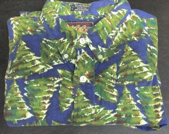Vintage Ralph Lauren Chaps Country Cottons Christmas Trees Pine Trees Flannel Long Sleeve Shirt  Size L