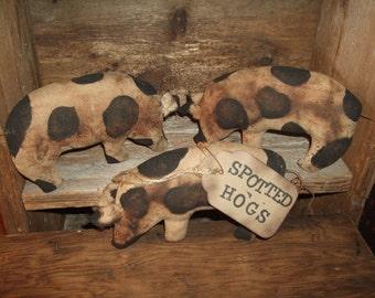 Primitive Hogs Folk Art PIGS Trio of Bowl Filler Ornies Rustic Country Decor, OFG HAFAIR Teams
