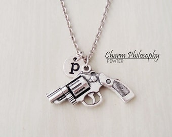 Revolver Necklace - Antique Silver Gun Charm Necklace -  Personalized Monogram Initial Necklace