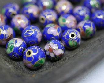 Chinese Cloisonne Beads 8mm Blue Cloisonne Bead Enamel Beads Metal Beads (6 beads) CL13