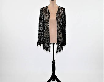 Romantic Vintage Style Crochet Duster Jacket Lace Cardigan Boho Clothing Edwardian Bohemian Black Duster New Womens Clothing