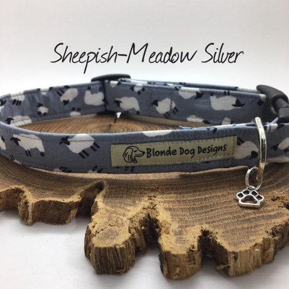 Cute Dog Collar, or, Cute Dog Lead, Sheepish, Meadow Silver, Grey Dog Collar, Grey Dog Lead, Luxury Dog Collar, Luxury Dog Lead.