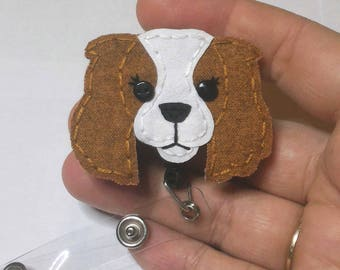 Cavalier King Charles Spaniel Badge Reel, Spaniel Badge Card Holder,Nurse Badge Reel, Dog,ID Holder,Dog,Nursing Badge Holder,Badge Reel