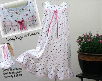 Girls' NIGHTGOWN - LAST Size 8 // 100% Cotton-Knit // READY to Ship // Pink Lady Bug Dress, (Visit Shop for other available sizes)