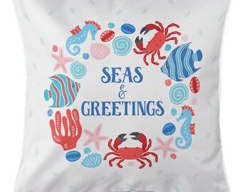 Ocean Drifters Christmas Pillow, Coastal Christmas Pillow, Nautical Christmas Pillow