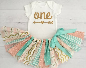 Mint, Peach and Gold Birthday Outfit, Arrow Bodysuit, First Birthday Outfit/Fabric Tutu/Baby Girl
