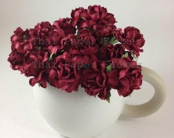 100 Burgundy Mulberry Paper Flowers Scrapbook Craft Wedding Supply Card Making 104/21