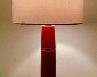 Unique African Sapele hardwood table lamp 305mm in height.