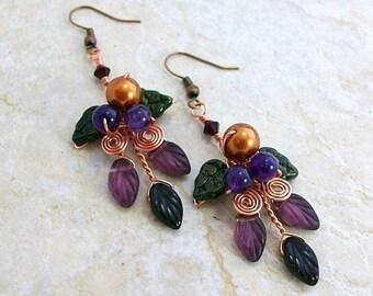 Art Nouveau Amethyst Harvest Earrings