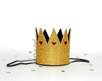 Queen of Hearts Crown // Alice in Wonderland Crown // Gold Crown // Crown Headband // by Born TuTu Rock
