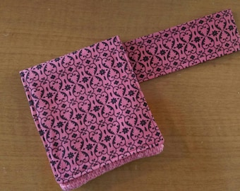 Crochet Hook Case in Coral Pink and Chocolate Travel Size