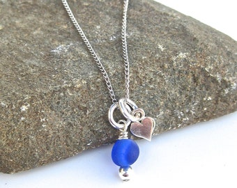Tiny Heart Sea Glass Necklace | Sterling Silver | Sea Glass Jewelry | Beach Glass Jewelry | Heart Necklace | Valentines Jewelry