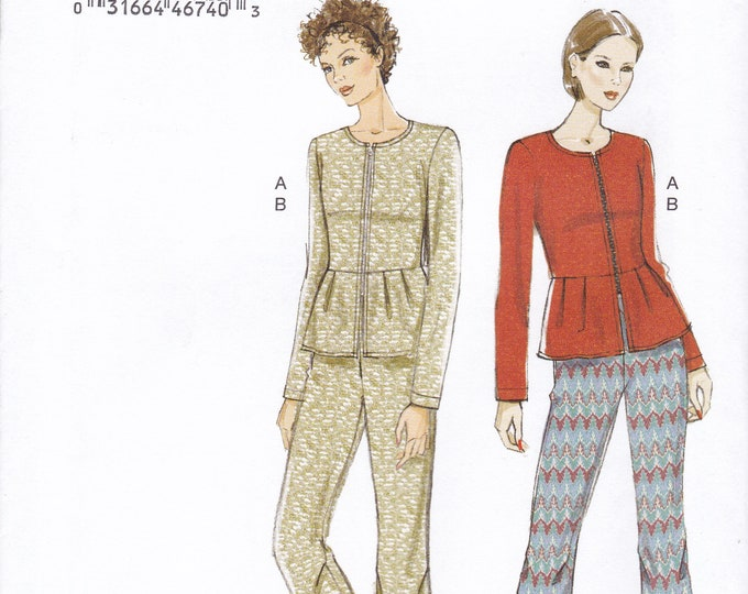 FREE US SHIP Vogue 9214 Sewing Pattern Top Pants Elastic Waist Peplum Size 14/22 Bust 36 38 40 42 44 Uncut New  Out of Print