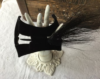 Vintage Black Velvet and Feather Hair Fascinator / Hat / Headband / Hair Accessory / 1940's Era