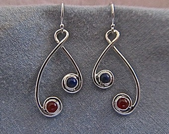 Sterling silver earrings with carnelian and lapis lazuli