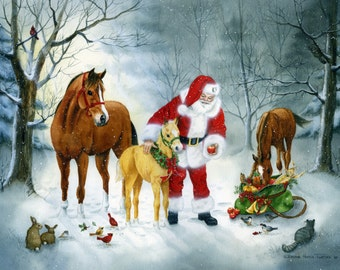 A CHRISTMAS GATHERING painted for the US Equestrian Federation
