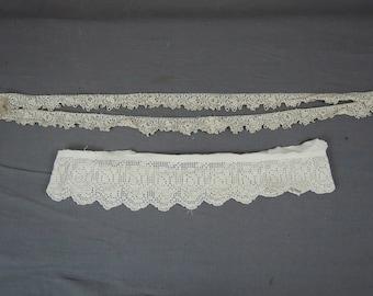 Vintage Crochet Clothing Lace Trims, Antique Edwardian Handmade Lace 2 Pieces