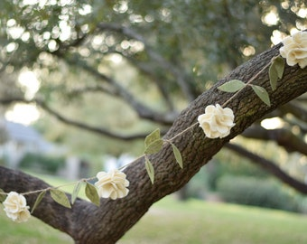 Rustic Felt Flower Garland- Wedding Ivory Rose Garland with Leaves- Hanging Floral Garland