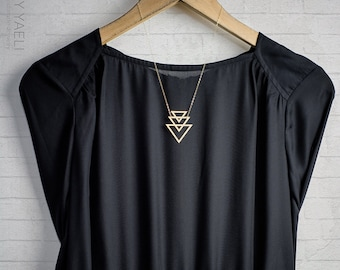 Geometric necklace triangle necklace goldfield necklace gift for her unique necklace triangular necklace gold necklace