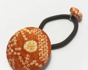 Hand made vintage kimono covered button Ponytail holder(shibori)